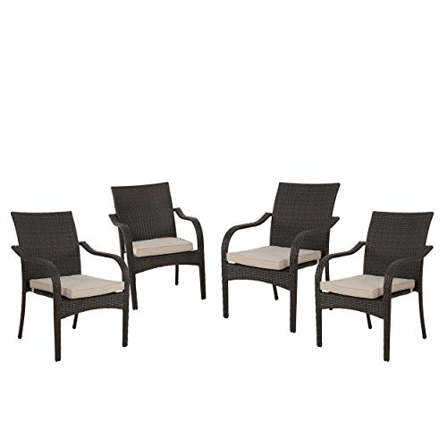 GDF Studio 299455 Florianopolis Brown Wicker Stacking Chairs Set of 4 , Multibrown and Textured