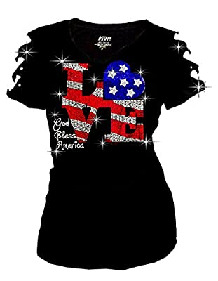 Fashion2ne1 Bling Rhinestones 4th Of July T-Shirt Ripped Cut Out American Flag