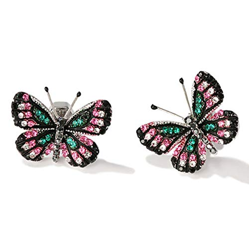 18K Gold Plated AAA Cubic Zirconia 3D Black Butterfly Earring Green and Pink Gems Stud Post ()