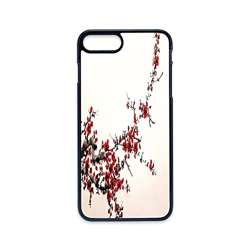 Phone Case Compatible with iPhone7 plus iPhone8 plus 2D print Black edge,Art,Elegance Cherry Blossom Sakura Tree Branches Ink Paint Stylized Japanese Pattern Decorative,Red Cream Brown,Hard Plastic Ph ()