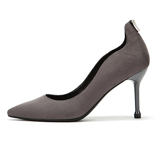 5 Cour 9cm Élégant Femme Chaussures De Chaussures Talons Nightclub 4 WeddingDaphne EU Gray Sexy 37 Commuting Hauts UK Mode Noir Travail Party wqxXPaq1
