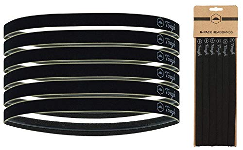 Athletic Sports Headbands - 6 Pack Thin Hair Bands for Men, Women, Boys & Girls - Elastic Head Bands with No Slip Silicone Grip - Ideal for Soccer, Running, Yoga, Volleyball & Work Outs