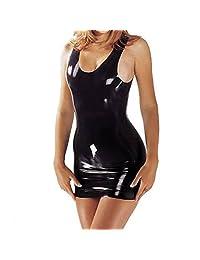Black Sexy Clubwear Catsuit Mini Latex Dress Shapewear Rubber Sleeveless Sexy Moulded Dress