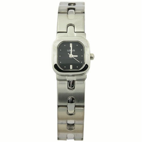 Lorus Ladies Watch Stainless Steel Link Band Square Black Dial SALE