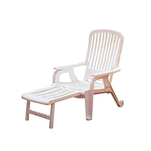 Grosfillex US658004 Bahia Stacking Deck Armchair, White Case of 2