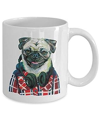 Funny Pug Wearing Headphones Mug - Cool Ceramic Pug Coffee Cup (15oz)