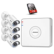 ANNKE 4CH HD 1080P NVR SPOE Video Security Camera System 1TB Hard Drive and (4) 1.3MP 960P House Bullet IP Surveillance Cameras,100ft Night Vision, IP67 Weatherproof, Power over Ethernet, Email Alarm