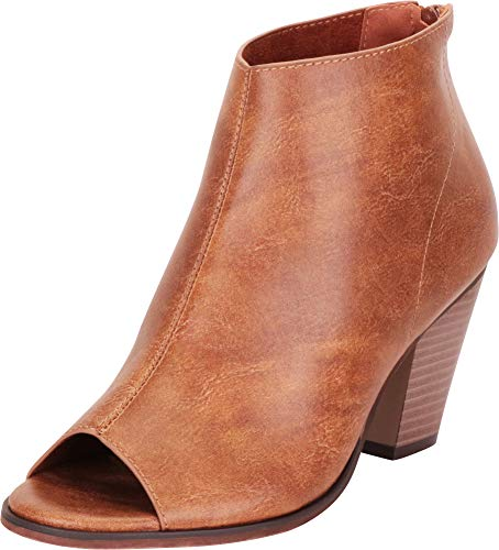 Cambridge Select Women's Open Toe Chunky Stacked Block Heel Ankle Bootie,9 B(M) US,Tan PU for $<!--$35.14-->