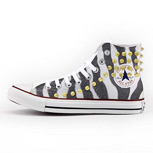 Converse All Star Personnalisé, Imprimés et Clouté - chaussures à la main - produit Italien - Zebra
