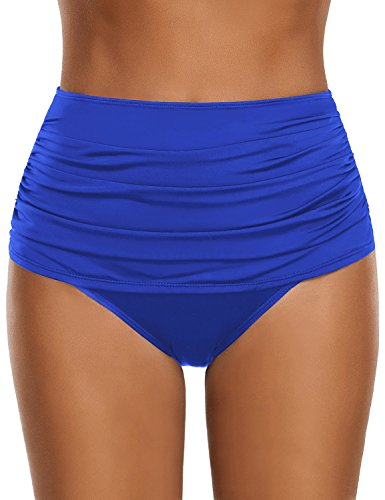 GRAPENT Women's High Waisted Swim Bottom Ruched Bikini Tankini Swimsuit Briefs Size XL, Royal Blue