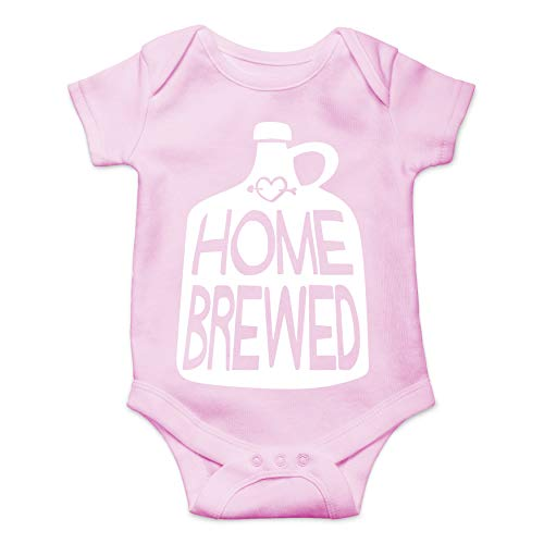 Home Brewed Funny Cute Joke Novelty Infant Creeper, One-Piece Baby Bodysuit (Pink, Newborn)