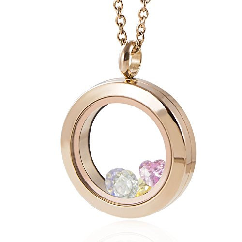 EVERLEAD Rose Gold Locket 316L Stainless Steel Pendant Waterproof Including Chains and Colorfull Zircon (Locket Diameter: 30mm)