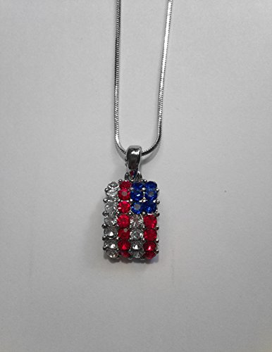[Accessory Silver - USA American Flag Patriotic Necklace] (Labor Day Parade Costumes For Sale)