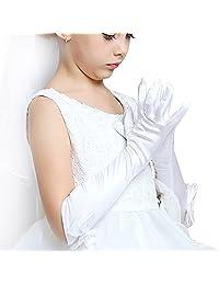 JISEN Girl Bownot Stretch Satin Holiday Wedding Princess Gloves
