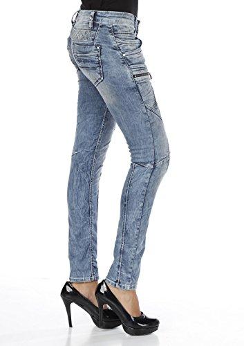 Cipo & Baxx Slim Fit Label costura para mujer Jeans Blue azul vaquero