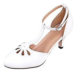 Chase Chloe Kimmy 36 Women S Teardrop Cut Out T Strap Mid Heel Dress Pumps 8 5 B M Us White Pu
