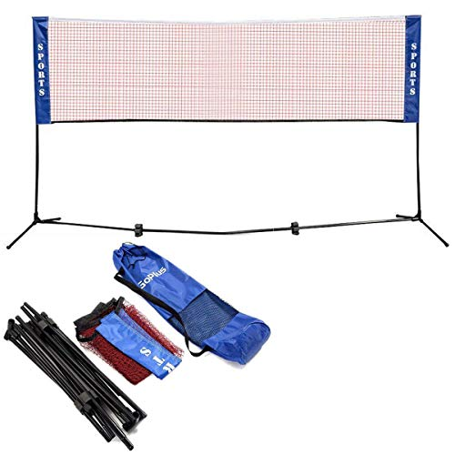 Goplus Portable Badminton Net Beach Volleyball Tennis Competition Training Net 2.5 to 5 Adjustable Height with Carrying Bag (10 x 5 Red)
