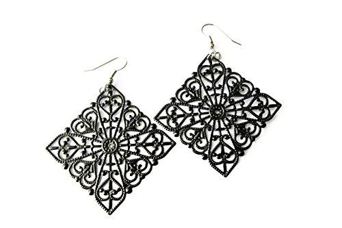 Diamond Filigree Earrings - Black Diamond Shaped Hand Painted Metal Filigree Hippie Boho Earrings for Women