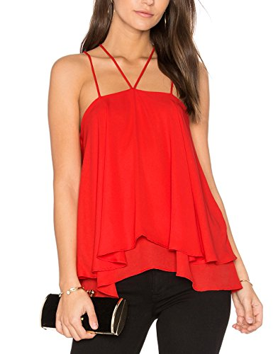Ally-Magic Women's Sleeveless Tank Tops Double Strap Layered Chiffon Blouse C4732 (M, Red)