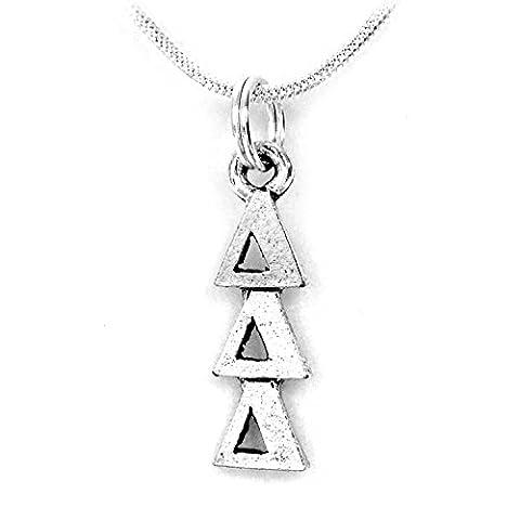 Delta Delta Delta Tri Delta Silver Color Sorority Standard Lavalier Necklace (Chief Keef Pendant)