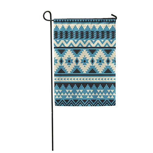 Semtomn Garden Flag 28x40 Inches Print On Two Side Polyester Blue Native Ethnic Pattern Design American Navajo Abstract Aztec Cute Fantasy Home Yard Farm Fade Resistant Outdoor House Decor -