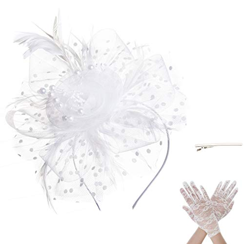 SAFERIN Fascinator Hat Feather Mesh Net Veil Party Hat Flower Derby Hat with Clip and Hairband for Women with Lace Glove (TA7-White with Glove)