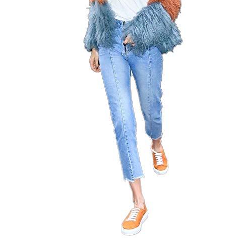 Jeans Bordi Hipster Cucitura Street Pantaloni Dritto Da Blue Cerniera Irregolare Sfilacciati Centesimi Ljyasd Nove qzI7w6Y