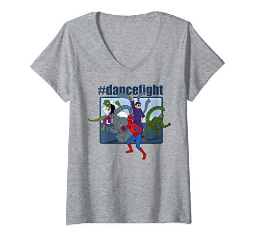 Womens Marvel Spider-Man And Villains #dancefight Portrait Panel V-Neck T-Shirt ()