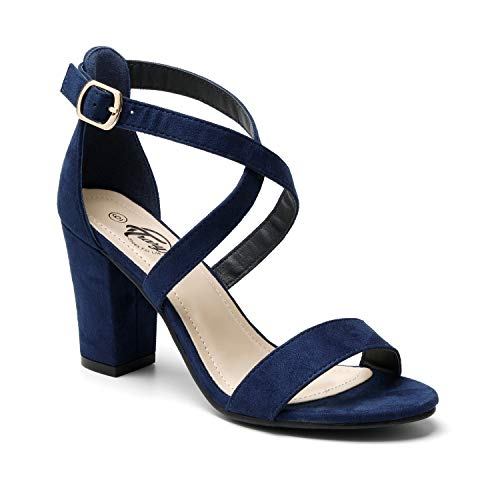 Trary Women's Ankle Strap and Adjustable Buckle Chunky Pump Heel Sandals Blue Suede 08 ()