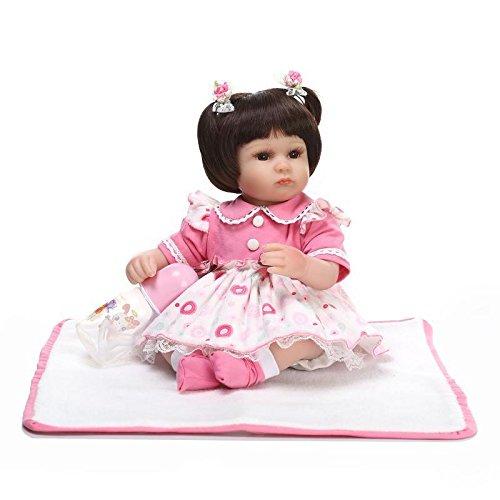 markids 17インチ/42 cmシリコンReborn人形ソフトベビー玩具ギフトforガール布ボディ   B07BJ1L421