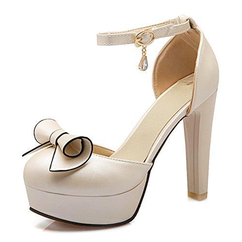 Summerwhisper Womens Sweet Bowknot Ankle Strap Closed Toe Platform Sandals Chunky High Heel Shoes Beige 7 5 B M  Us