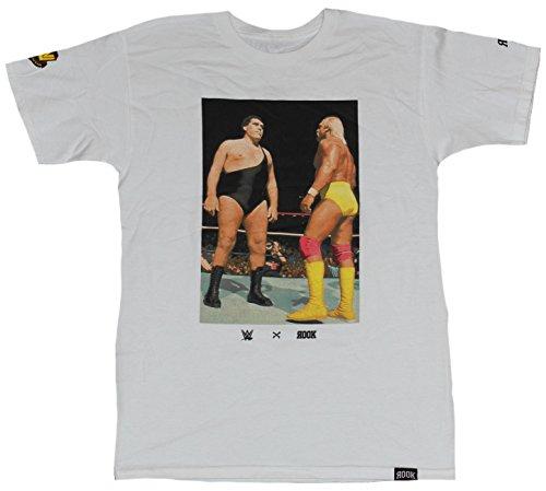 Hulk Hogan Mens T-Shirt - Hulk Facing Down Andre the Giant Photo Image (Small) White