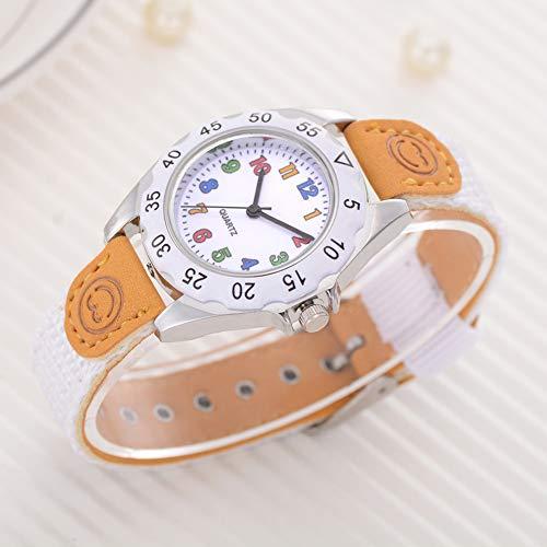 Fashion Children Kids Arabic Numbers Nylon Band Wristwatch Analog Quartz Watch Wrist Studens Watches by Gaweb (Image #4)