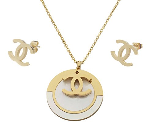 Shell Pendant Necklace Earrings (Solid Gold Plated Fashion Stainless Steel Jewelry Set for Women Pendant with Shell Chain Necklace Stud Earrings)