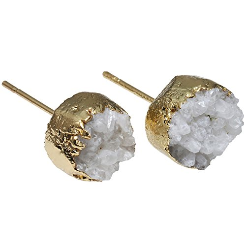 SUNYIK White Titanium Coated Crystal Quartz Geode Druzy Stud Earrings