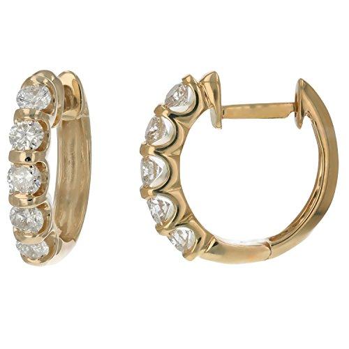 1 cttw Channel Set Diamond Hoop Earrings 14k Yellow Gold