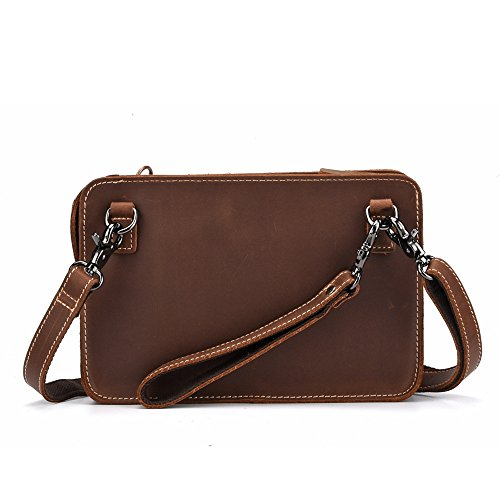 For IPad Bag Men's Brown Mini Bag Clutch Genuine Leather Mini Reddish Leather Shoulder qSSgwaxX4