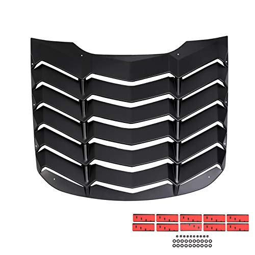 (ECOTRIC Rear Window Louvers Windshield Sun Shade Cover Matte Black for 2015 2016 2017 2018 Ford Mustang(Ford)