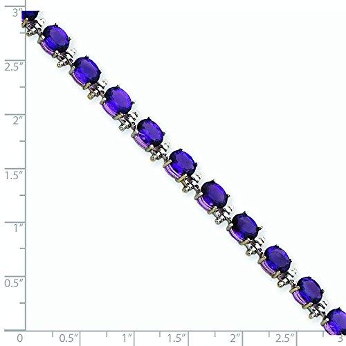 "Bracelet en or blanc 14 carats-Améthyste - 7 ""- 7 mm-Fermoir-JewelryWeb"