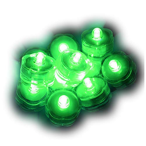 Sokaton Submersible Tea Light Battery Operated Waterproof LED Tealights Underwater Vase Light for Christmas Xmas Holloween Party Wedding Decoration - Pack of 24 - Green