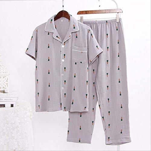 XFLOWR 2pcs Hombres y Mujeres Pijamas de algodón Conjunto Amantes Ropa de Dormir Zanahoria de Dibujos Animados Impreso…