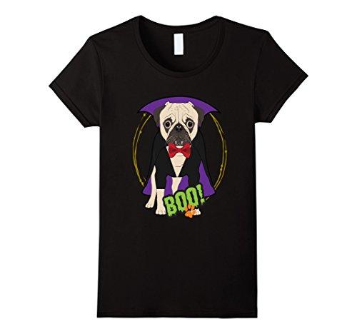 Womens Pug Dog Halloween Costume Shirt Cute Puppy Vampire XL Black (Halloween Shop Nyc)