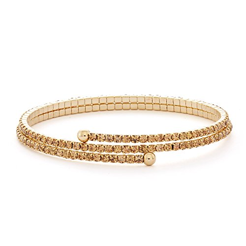 14K Gold Plated Double Wrap Flex Bangle with Crystals, 18 Color Options