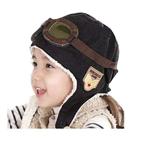 Genius_Baby Baby Kid Boy and Girl Warm Earmuffs Pilot Cap Aviator Hat (Black)