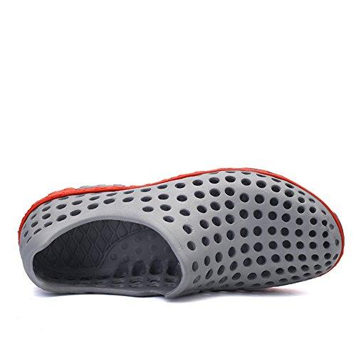 Santiro Men's Women's Summer Water Slip On Walking Shoes Unisex Beach Hole Comfort Sandals. Grey Qkb74fLx5R