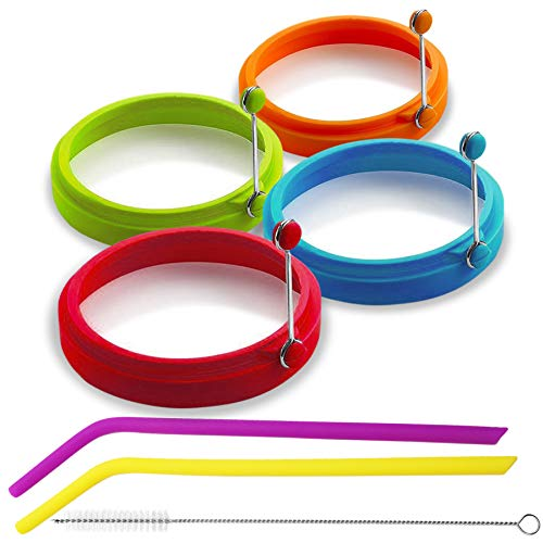 Eggssentials Silicone Egg Ring Set for Frying Eggs and Pancakes| Egg Rings Mold Comes with 2 Bonus Silicone Straws and Cleaner| BPA Free