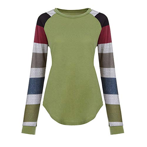 a25c39588a vermers Fashion Striped Long Sleeve T Shirt, Women Casual Loose O-Neck Top  Blouse