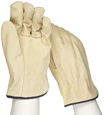 """West Chester 994 Leather Glove, Shirred Elastic Wrist Cuff, 10.5"""" Length, 2XL (Pack of 12 Pairs)"""