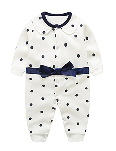 D.B.PRINCE Baby Boys Long Sleeves Gentleman Cotton Rompers Small Suit Bodysuit Outfit with Bow Tie (Dot, 0-3 Months)
