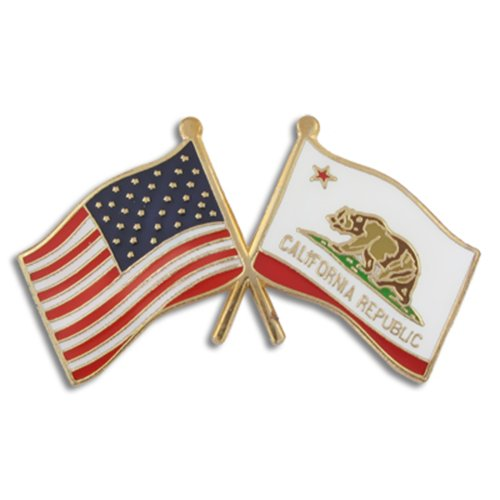 PinMart California and USA Crossed Friendship Flag Enamel Lapel Pin